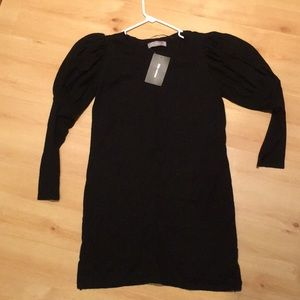 ZARA black sweater dress with poof sleeve Med NWT!